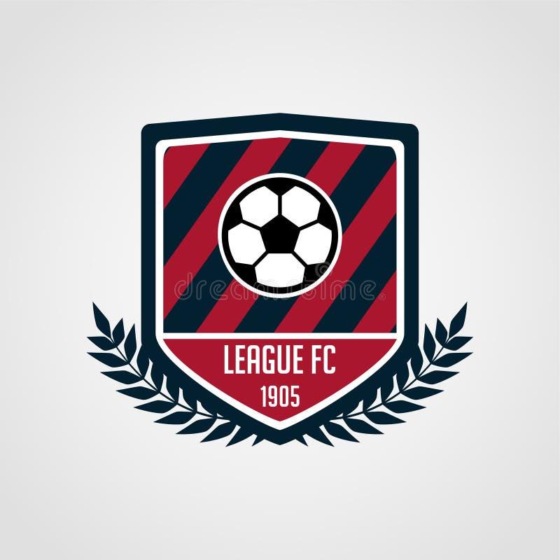 Fotboll och fotbollslagemblem med modern stil royaltyfri illustrationer