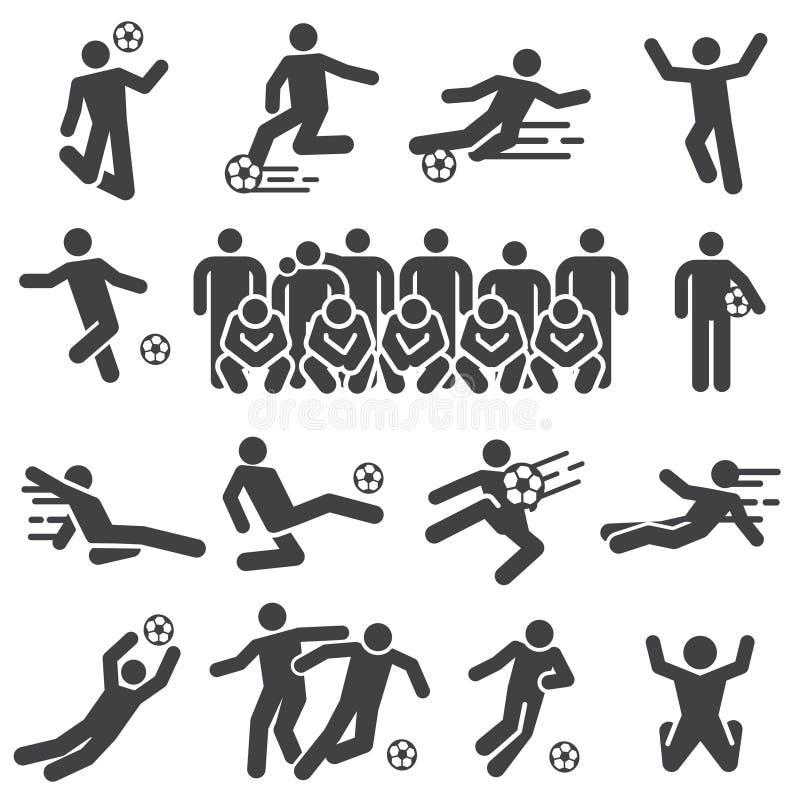 Fotboll och fotbollsspelare åtgärdar den fasta symbolsuppsättningen stock illustrationer