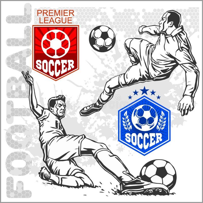 Fotboll och fotbollsspelare plus emblem för sport stock illustrationer
