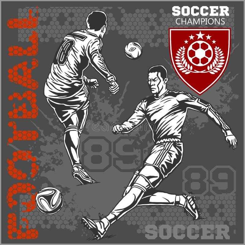 Fotboll och fotbollsspelare plus emblem för sport royaltyfri illustrationer