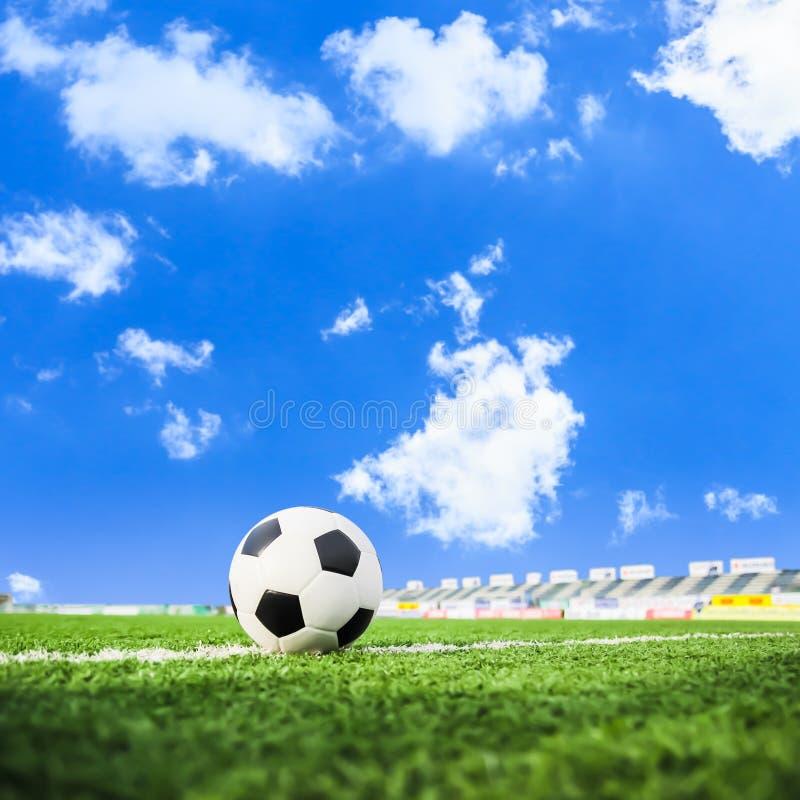 Fotboll på fält för grönt gräs fotografering för bildbyråer
