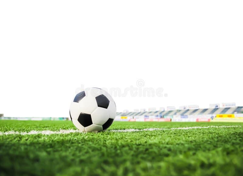 Fotboll på fält för grönt gräs royaltyfri fotografi