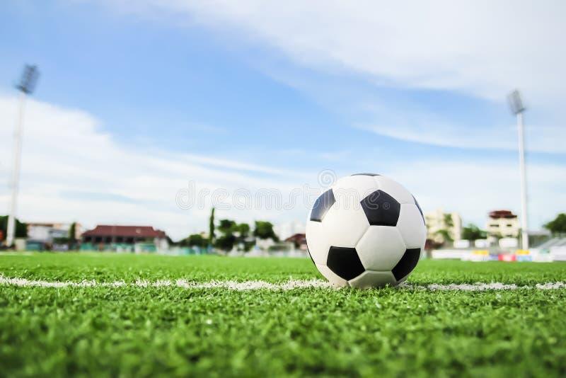 Fotboll på grönt gräs fotografering för bildbyråer