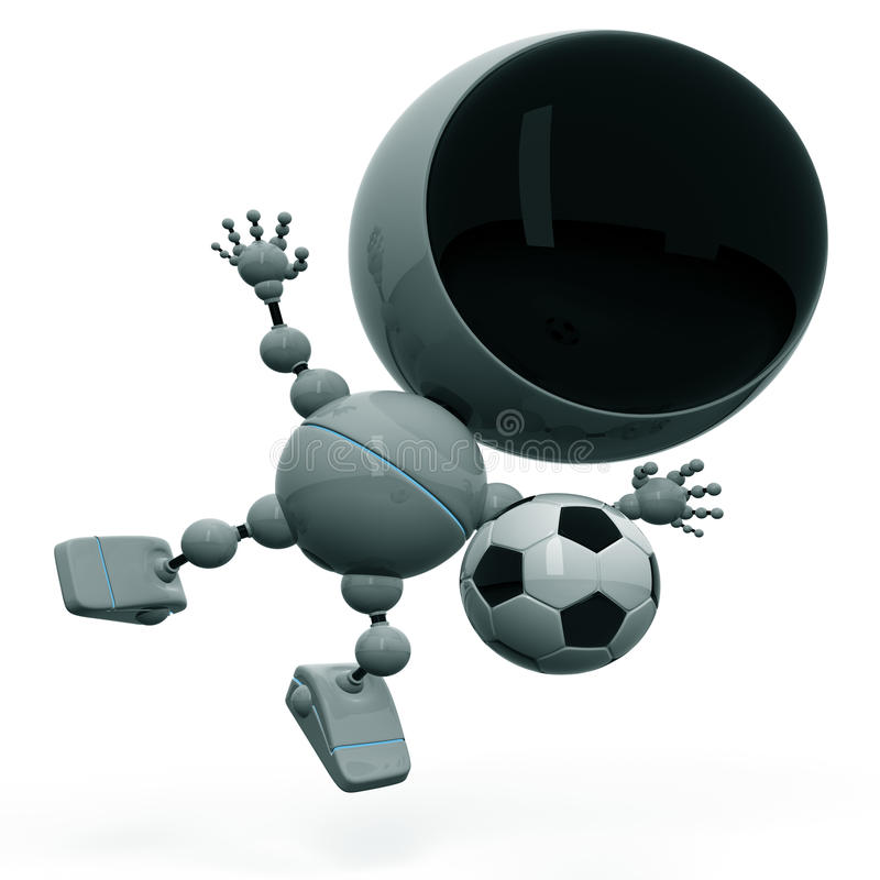 fotboll plays roboten stock illustrationer