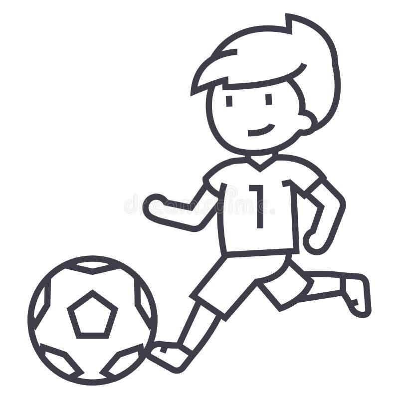 Fotboll pojke som spelar fotbollvektorlinjen symbol, tecken, illustration på bakgrund, redigerbara slaglängder vektor illustrationer