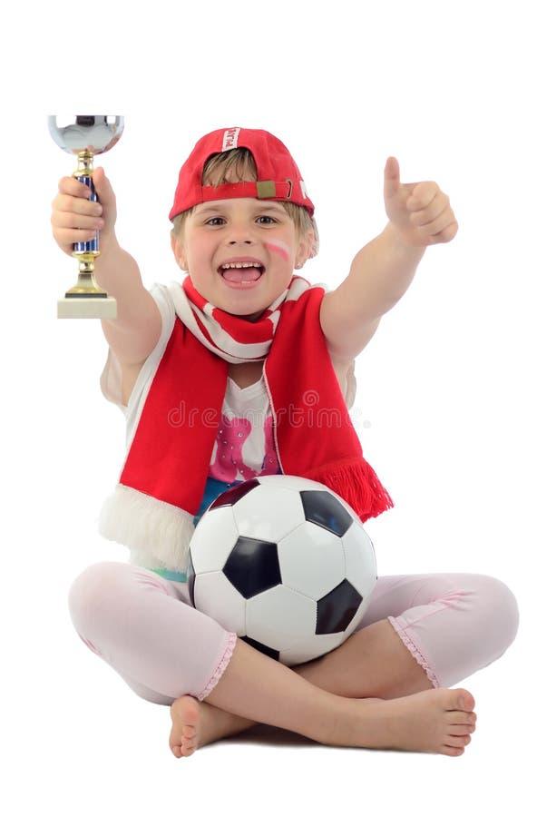fotboll polerat supporterbarn royaltyfria foton