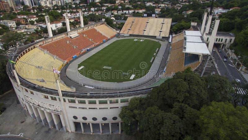 Fotboll runt om världen, Pacaembu stadionSao Paulo Brazil arkivfoton