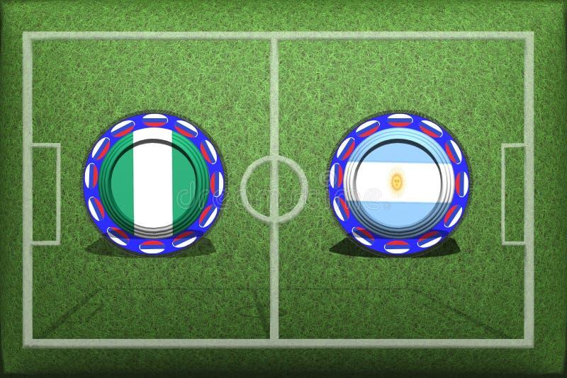 Fotboll världscup 2018, modig grupp D, Nigeria - Argentina vektor illustrationer