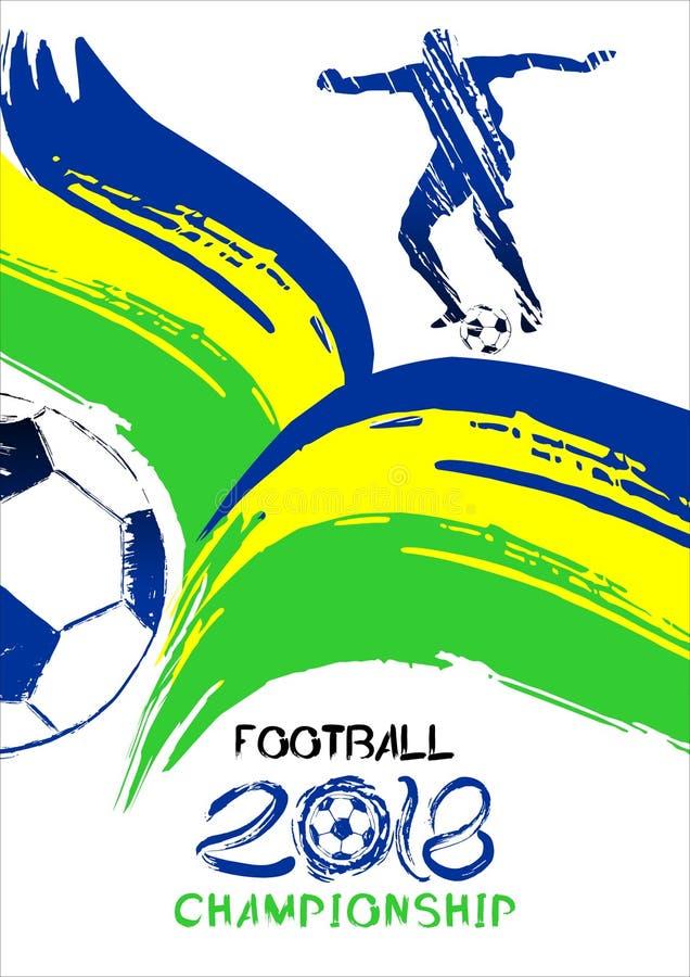Fotboll2018 vektorillustration, sportbakgrund i stilen av grunge för inbjudningar, häfte, reklamblad, kort stock illustrationer