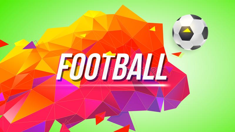 Fotbollaffisch för turneringar, mästerskap Moderiktig lutning, låg-poly bakgrund med bollen och trianglar för affischer stock illustrationer