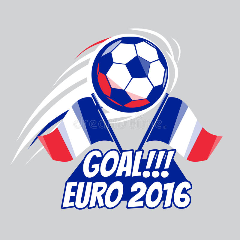 Fotbollaffisch med bollen EURO Frankrike 2016 Vektorbroschyr för sportlek Mästerskap liga Fotbollturnering royaltyfri illustrationer
