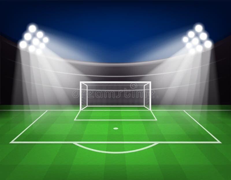 Fotbollarenafältet med ljus stadion tänder vektorillustrationen stock illustrationer