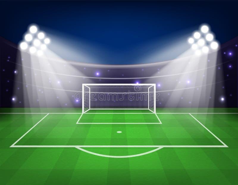 Fotbollarenafältet med ljus stadion tänder vektorillustrationen vektor illustrationer