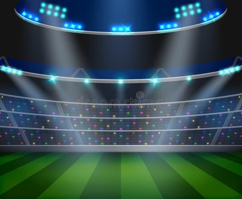 Fotbollarenafältet med ljusa stadionljus planlägger royaltyfri illustrationer