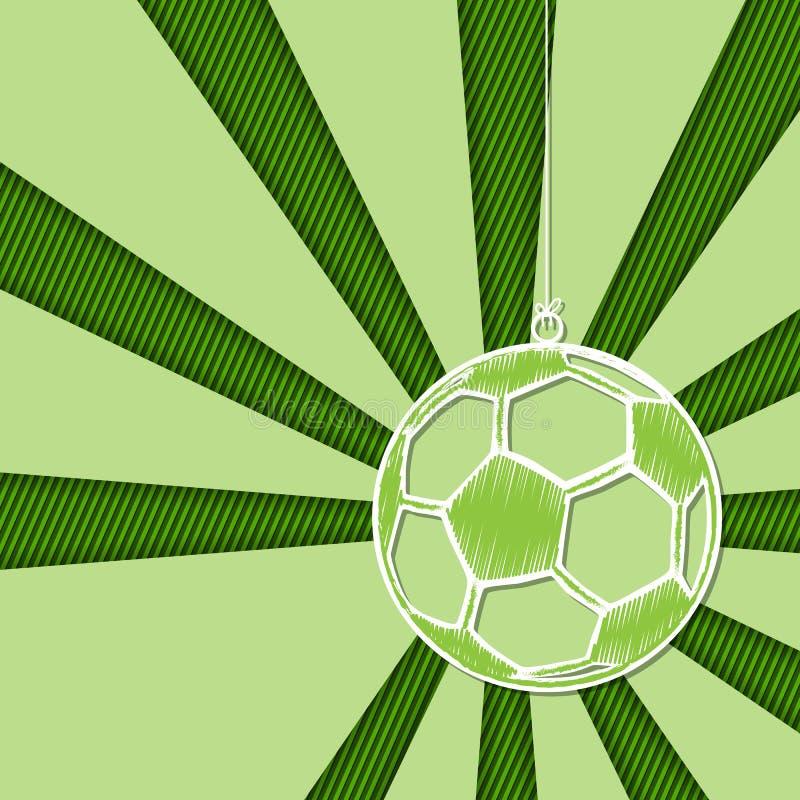 Fotbollbakgrund med den hängande bolletiketten royaltyfri illustrationer
