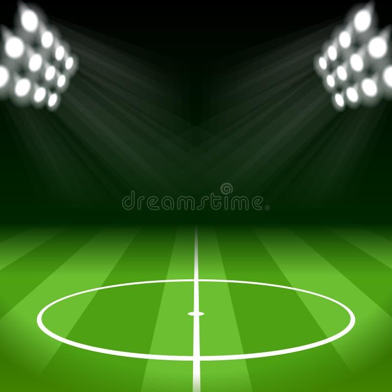 Fotbollbakgrund med ljuspunktljus vektor illustrationer