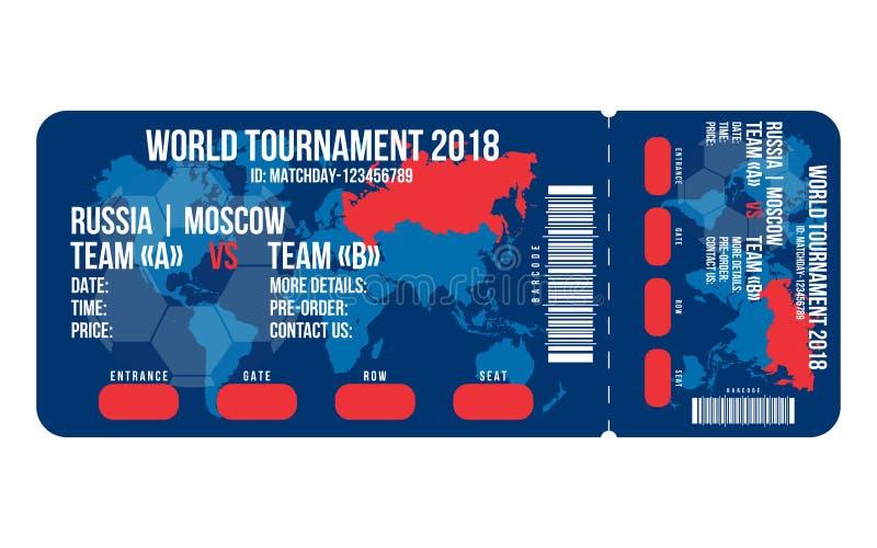 Fotbollbiljett för ingång till stadion Fotbollbiljettdesign för världscupen 2018 i Ryssland vektor illustrationer
