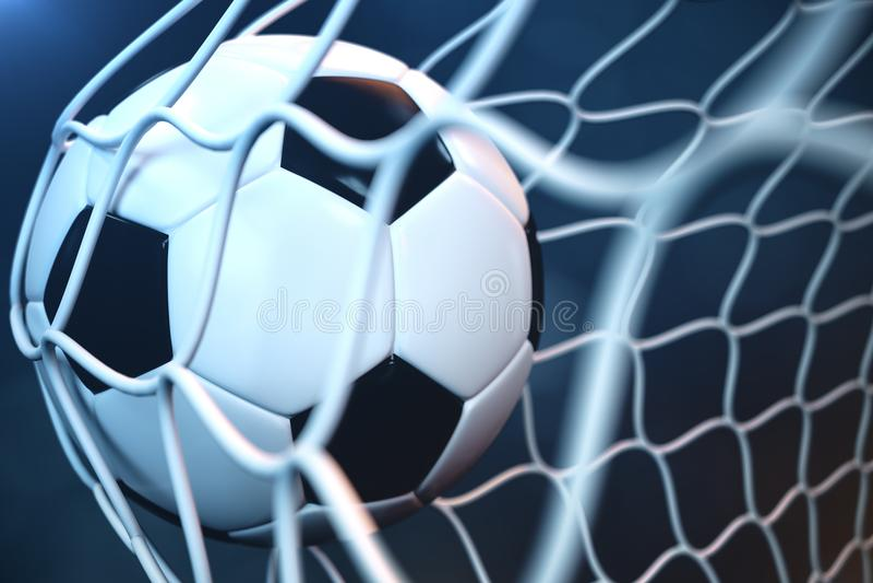 fotbollboll för tolkning 3d i mål Fotbollboll i netto med ljus bakgrund för strålkastare eller för stadion, framgångbegrepp stock illustrationer