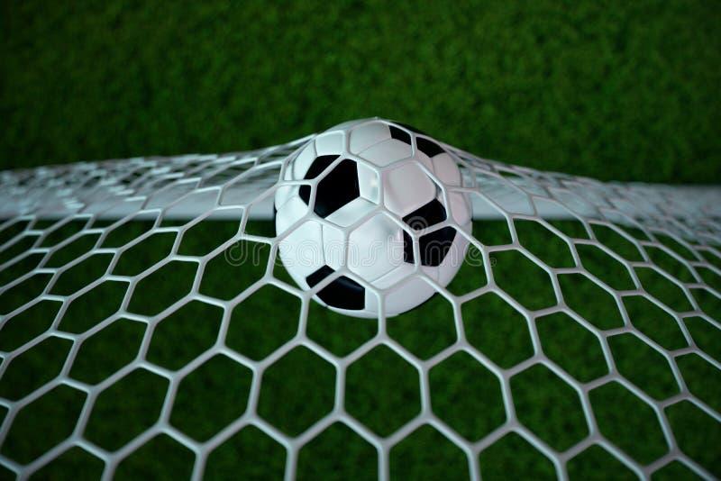 fotbollboll för tolkning 3d i mål Fotbollboll i netto med ljus bakgrund för strålkastare och för stadion, framgångbegrepp vektor illustrationer