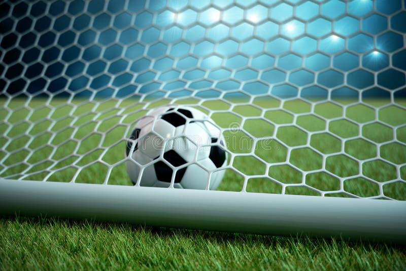 fotbollboll för tolkning 3d i mål Fotbollboll i netto med ljus bakgrund för strålkastare och för stadion, framgångbegrepp stock illustrationer