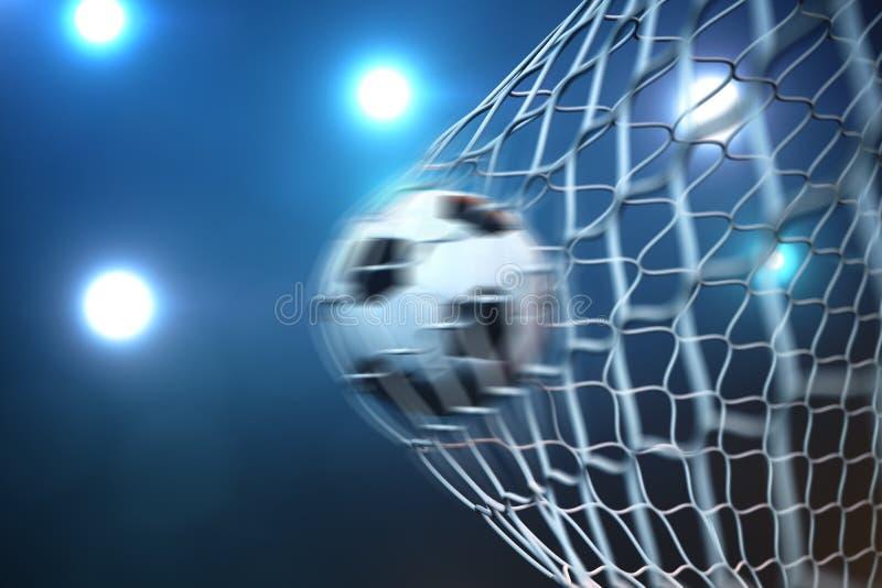 fotbollboll för tolkning 3d i mål i rörelse Fotbollboll i netto i rörelse med ljus bakgrund för strålkastare eller för stadion stock illustrationer