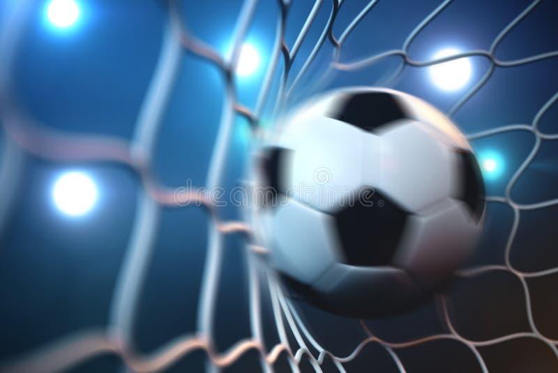 fotbollboll för tolkning 3d i mål i rörelse Fotbollboll i netto i rörelse med ljus bakgrund för strålkastare eller för stadion vektor illustrationer