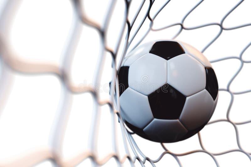 fotbollboll för tolkning 3d i mål i rörelse Fotbollboll i netto i rörelse som isoleras på vit bakgrund bollar dimensionella tre royaltyfri illustrationer