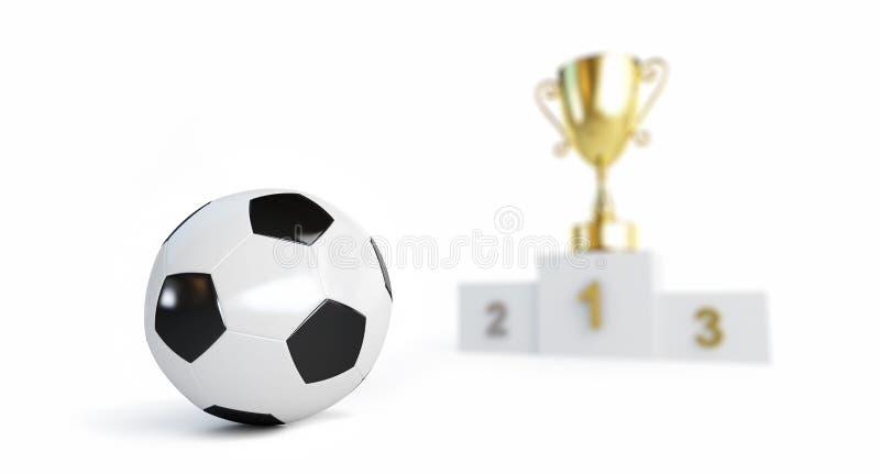 Fotbollboll, guld- kopp på sockeln som är mer blå på en vit illustration för bakgrund 3D, tolkning 3D royaltyfri illustrationer