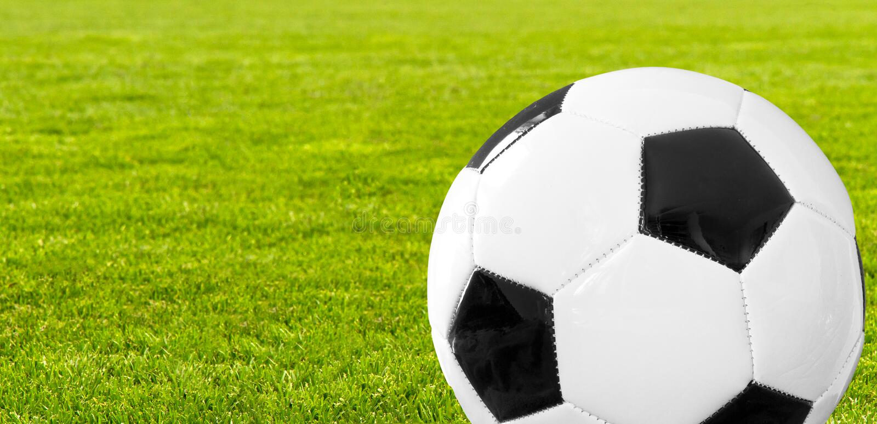 Fotbollboll i en stadion royaltyfria bilder