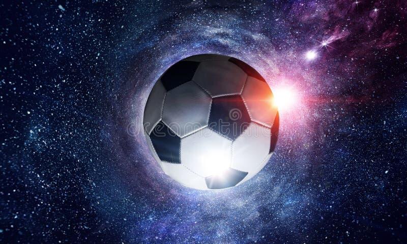 Fotbollboll i kosmos vektor illustrationer