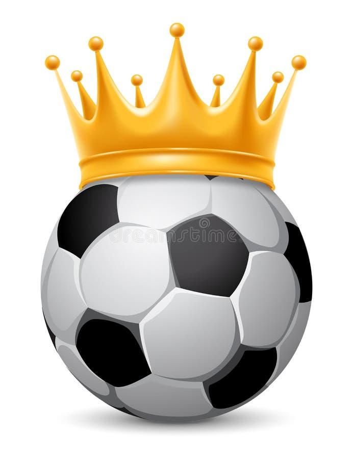 Fotbollboll i krona royaltyfri illustrationer