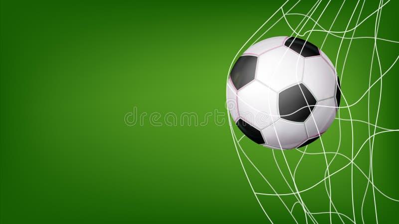 Fotbollboll i netto vektor Slå mål Inbjudansportaffisch, baner, broschyrdesign Isolerat på grön bakgrund royaltyfri illustrationer