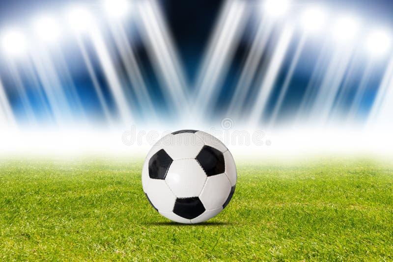 Fotbollboll i stadion vektor illustrationer