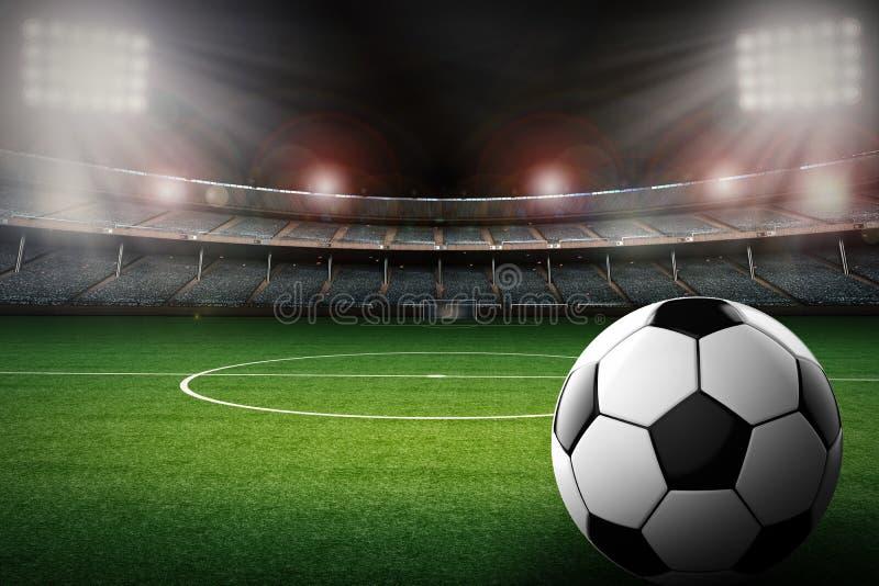 Fotbollboll med bakgrund för fotbollstadion royaltyfri illustrationer