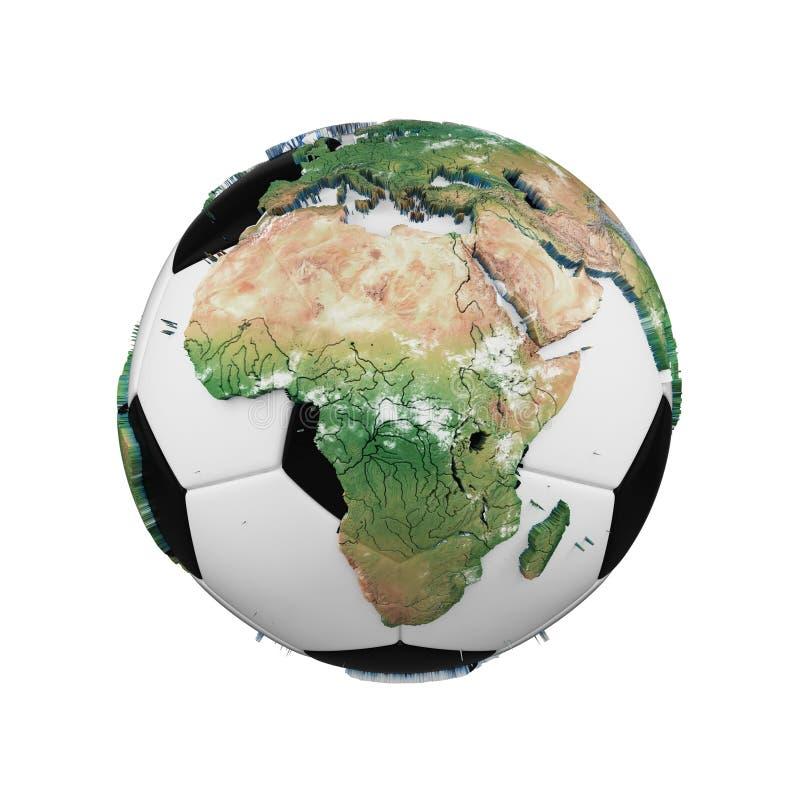 Fotbollboll med begrepp för planetjordjordklot som isoleras på vit bakgrund Fotbollboll med realistiska kontinenter vektor illustrationer