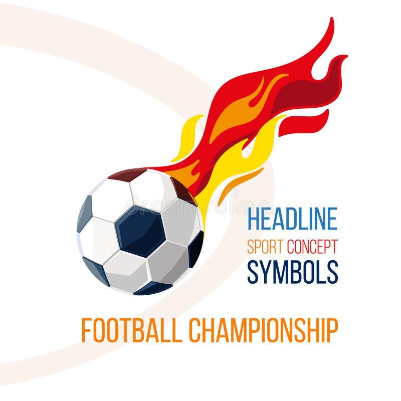 Fotbollboll med bilden av brand i bakgrunden stock illustrationer