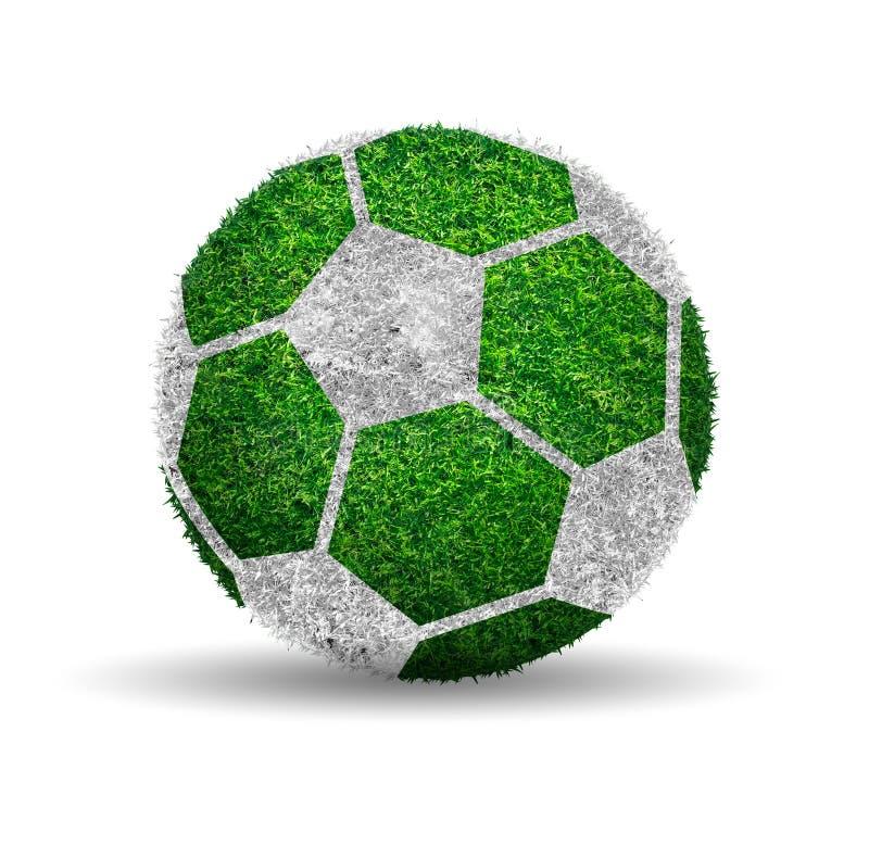 Fotbollboll med bolldesign för grönt gräs royaltyfria bilder