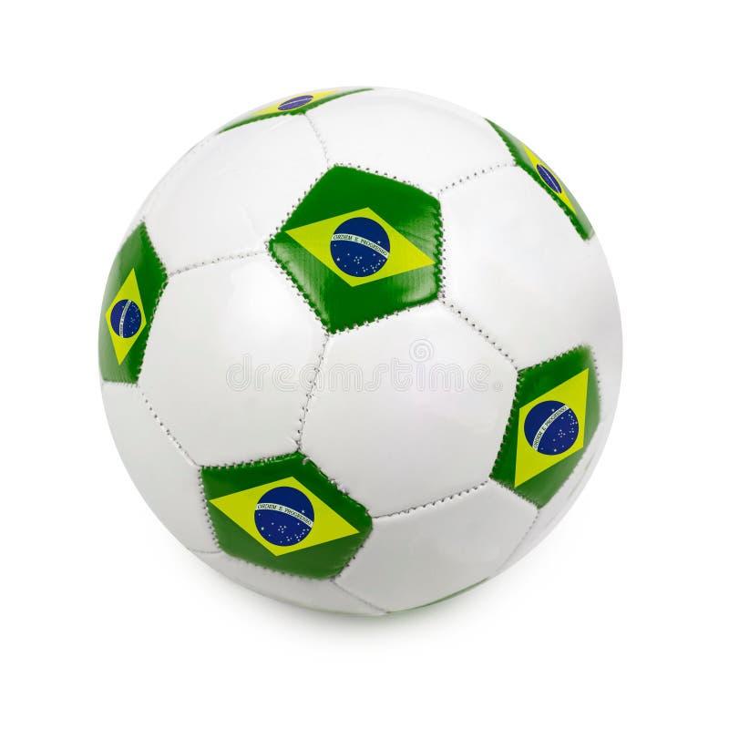 Fotbollboll med den brasilianska flaggan royaltyfri bild