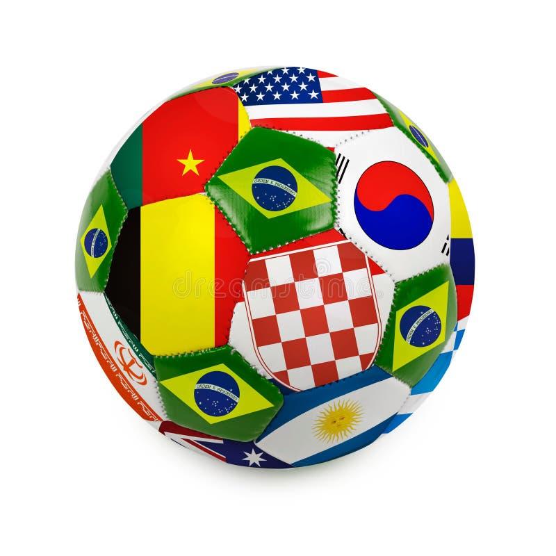 Fotbollboll med den brasilianska flaggan arkivbild