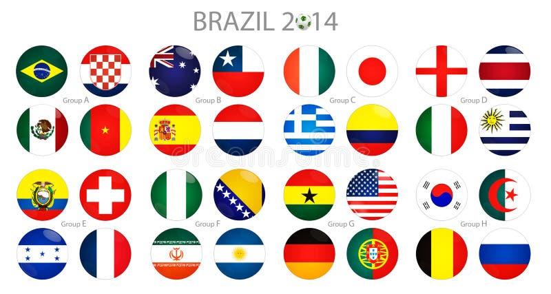Fotbollboll med den brasilianska flaggan royaltyfri illustrationer