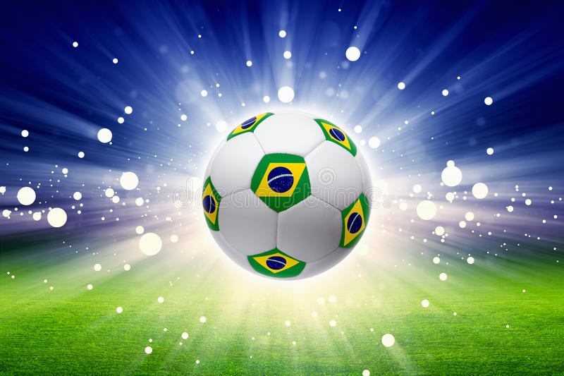 Fotbollboll med den Brasilien flaggan stock illustrationer