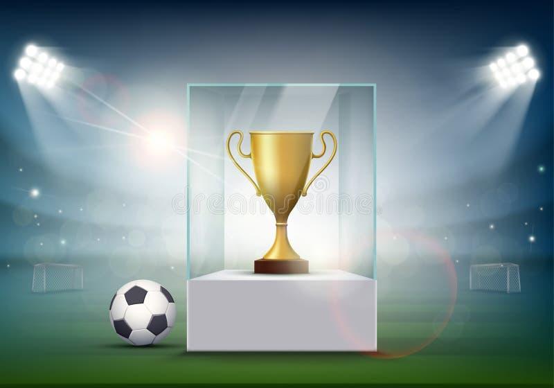 Fotbollboll med den guld- koppen av mästerskapet på stadion stock illustrationer