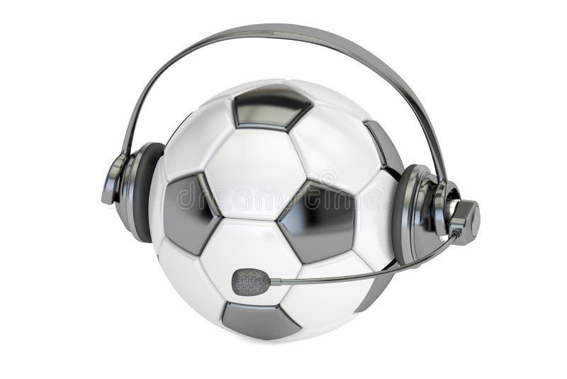 Fotbollboll med den hörlurar med mikrofon- eller för hörlurar 3D tolkningen vektor illustrationer
