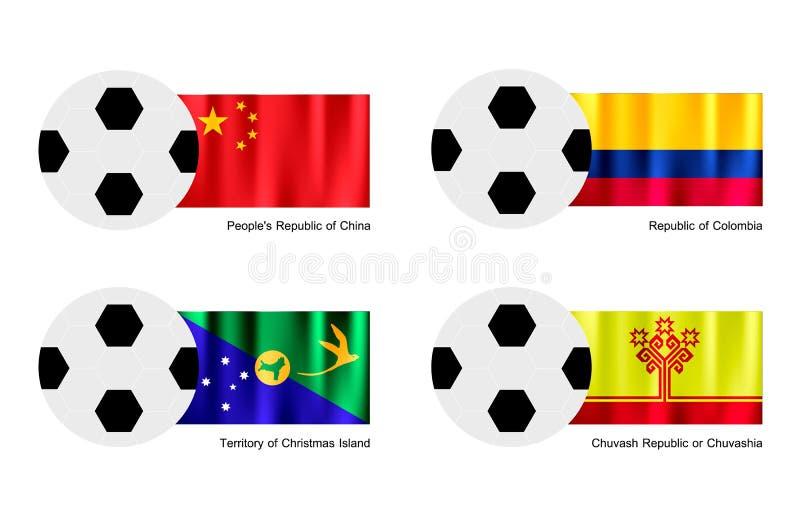 Fotbollboll med den Kina, Colombia, Julön- och Chuvashia flaggan stock illustrationer