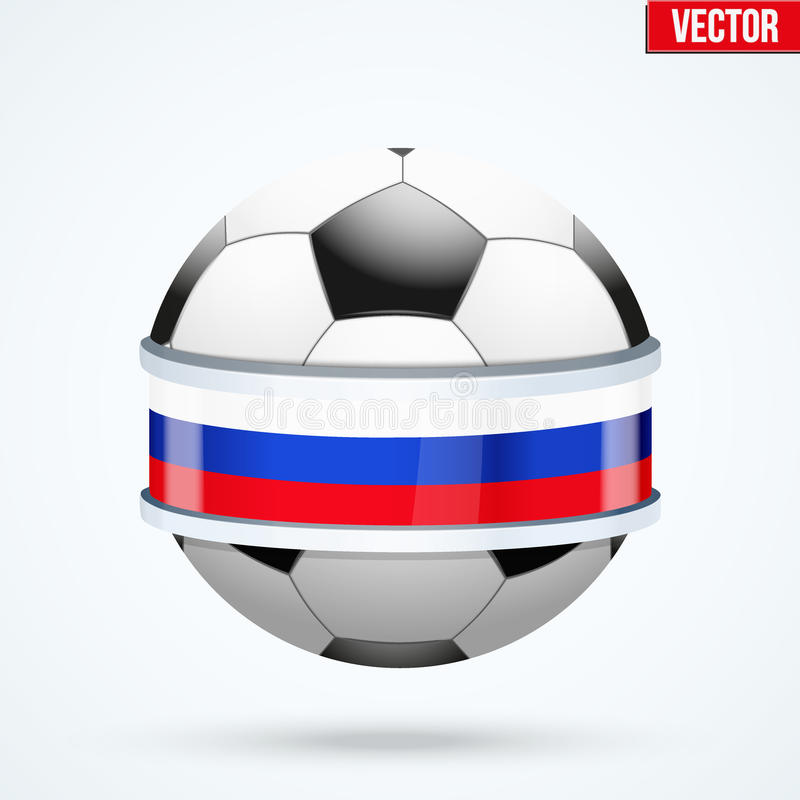 Fotbollboll med den ryska flaggan stock illustrationer
