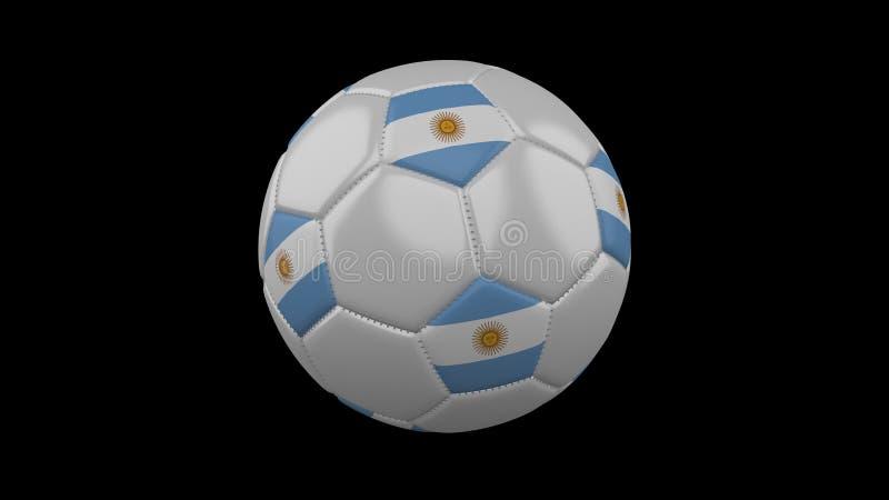 Fotbollboll med flaggan Argentina, tolkning 3d royaltyfri illustrationer