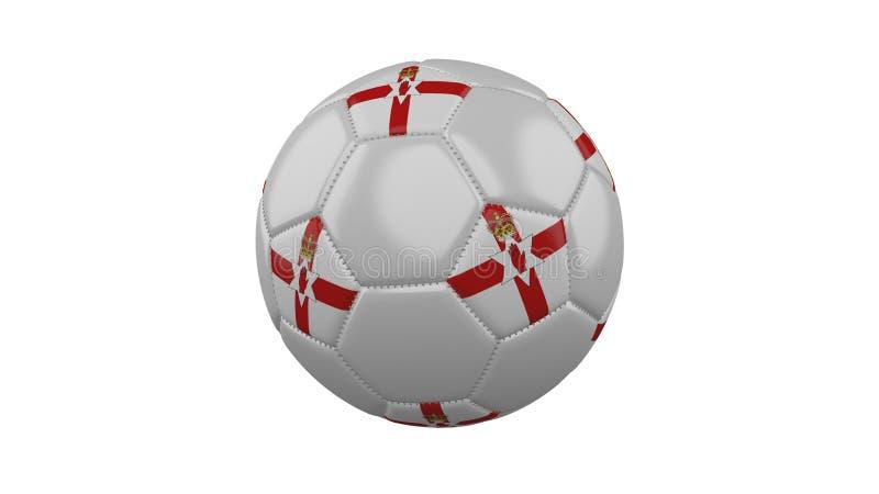 Fotbollboll med flaggan av nordligt - Irland färgar, tolkningen 3d royaltyfri illustrationer