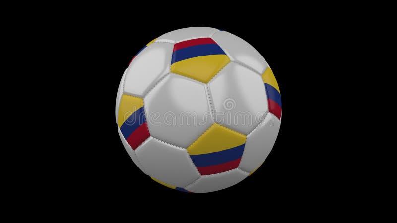Fotbollboll med flaggan Colombia, tolkning 3d royaltyfri illustrationer