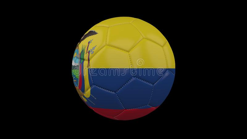 Fotbollboll med flaggan Ecuador, tolkning 3d royaltyfri illustrationer