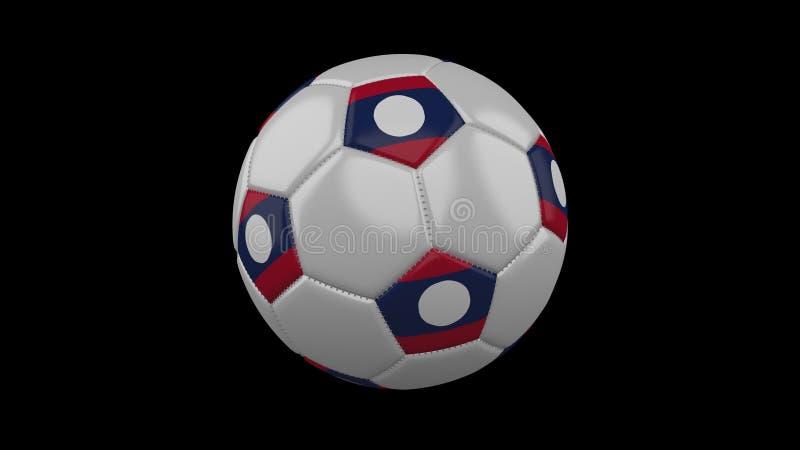Fotbollboll med flaggan Laos, ögla, tolkning 3d stock illustrationer